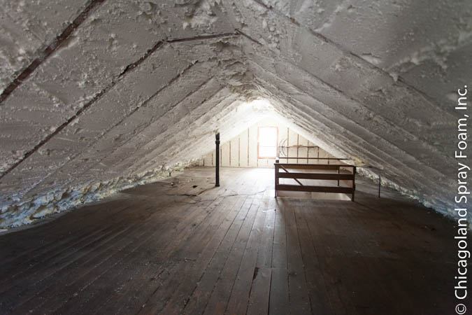 Chicago Bungalow with spray foam insulation in the attic.
