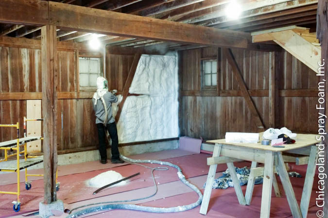 This is a picture of a client spraying their own property after being shown and supervised by a certified technician.