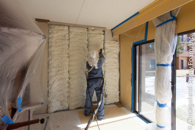 Chicago hotel being sprayed with spray foam insulation